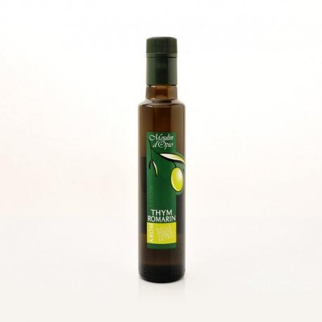 Bouteille 25cl Huile d'olive au Thym & au Romarin
