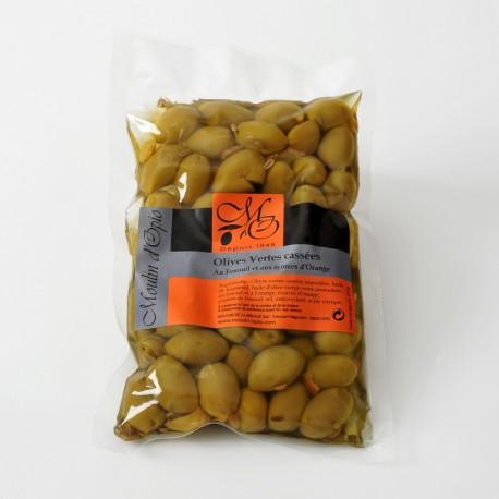 Chili green cracked Olives 200g