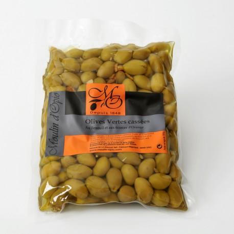 Chili green cracked Olives 500g